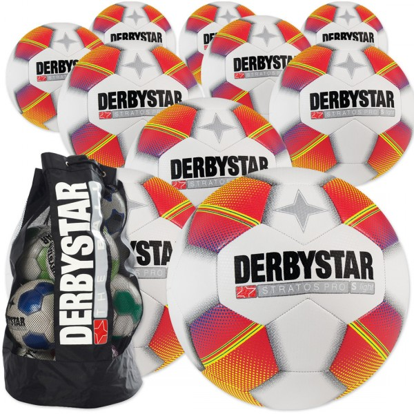 10 Stck Derbystar Stratos Pro s-light Ballpaket + Ballsack
