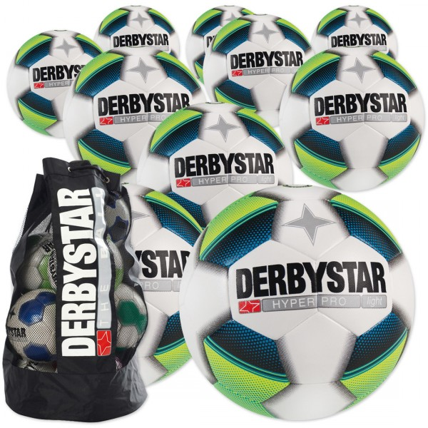 10 Stck. Derbystar Hyper Pro light Ballpaket + Ballsack